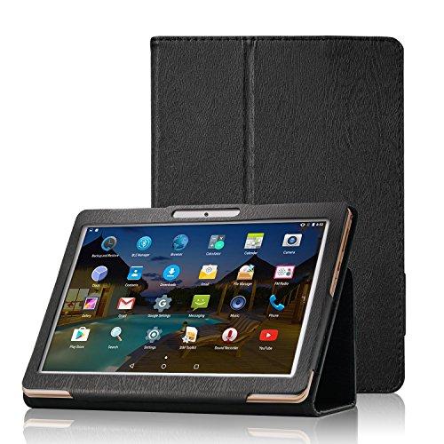 XIDO Slim Folio Hülle Case Tasche für Yuntab K17 K107, ACEPAD A140 A121 A101, Artizlee ATL-31 ATL-21X, XIDO Z120/3G X110/3G X111(with Flash), BEISTA, LNMBBS, Anteck, Cewaal, Schwarz
