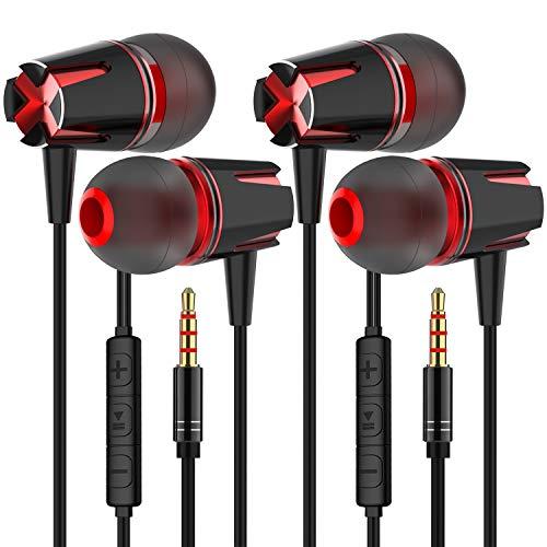 GWAWG In-Ear-Kopfhörer mit hochempfindlichem Mikrofon, Subwoofer-Kopfhörer, kompatibel mit den meisten Geräten mit 3,5-mm-Kopfhöreranschluss, 2 Stück
