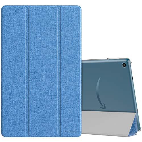 MoKo Hülle Kompatibel mit Amazon Fire HD 10 Tablet (9. Gen 2019 und 7. Gen 2017 Model) Tablet, PU Leder Tasche Transluzent Rücken Deckel Schutzhülle mit Auto Schlaf/Wach Funktion - Denim Dämmerung Blau