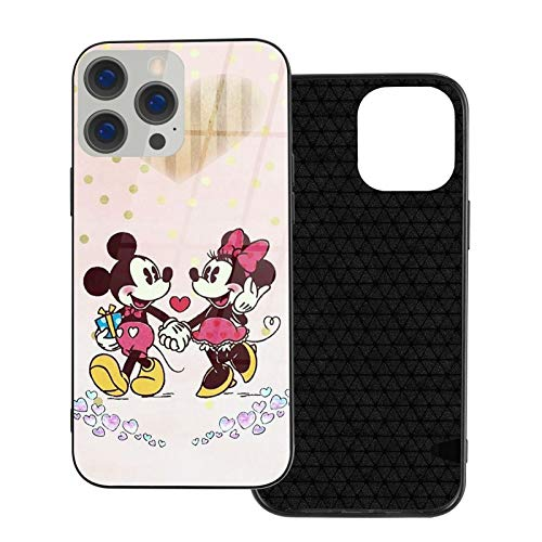Funda para iPhone 12 Minnie Mouse Love Mickey antihuellas compatible con iPhone 12, compatible con iPhone 12 Pro 6.1/Max 6.7, bonita y duradera funda de vidrio ultrafino