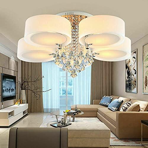 Lámpara de techo LED de cristal, regulable, con mando a distancia, moderna lámpara colgante de cristal, para dormitorio o salón