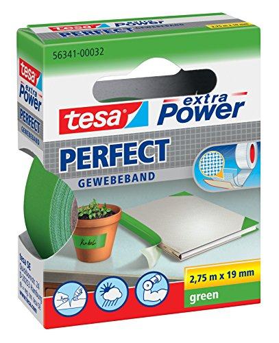 tesa® extra Power Perfect Gewebeband (2,75m x 19mm / 5er Pack, grün)