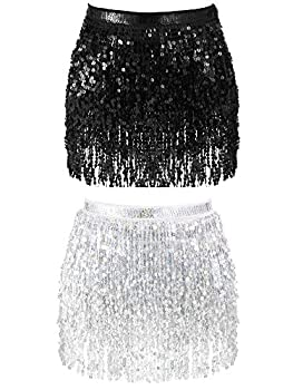 2 Pieces Sequin Tassel Skirt Belly Dance Hip Scarf Performance Outfit Sequins Skirt Belts Body Accessories for Women Girls  Black&Sliver