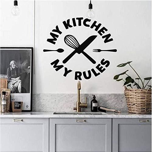 Muursticker in mijn keuken mijn regel aanbiedingen Wandsticker Vinyl Restaurant Interior Decoratief Design Mes en muurkabel 42 x 49 cm