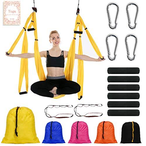 NewDoar Hamaca aérea de yoga de paracaídas de vuelo antigravedad de inversión de yoga fitness