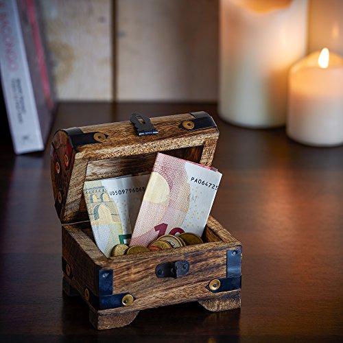 Casa Vivente Holztruhe – Bauernkasse – Schatztruhe – Schmuckkästchen – Spardose – Aufbewahrungsbox aus Holz – Klein – 10 cm x 7 cm x 8,5 cm (Dunkel – Klein) – Verpackung für Geldgeschenke - 5