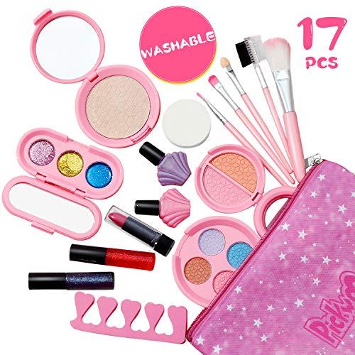 Pickwoo Kinderschminke Set Mädchen für Kinder 17 Stück Waschbar Schminke Makeup Set Kinder Kosmetikset mit Kosmetiktasche Schönheit ungiftig Enail Spielzeug Set Geschenk für Mädchen