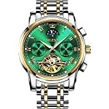 OLEVS Green Men's Automatic Mechanical Watches Luxury Dress Waterproof Self Winding Moon Phase Chronograph Stainless Steel Luminous Date Tourbillon Wristwatch for Men