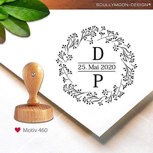 Stempel (460) ♥ personalisiert   rund, 4,0 cm   Monogramm   Datum   Stempel mit Adresse oder Name   custom stamp ♥ Scullymoon
