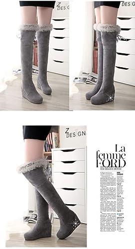 ZHRUI Stiefel para damen - Stiefel de Nieve Sobre la Rodilla Stiefel Sobre la Rodilla Stiefel Altas Stiefel Calientes 34-43 (Farbe   grau, tamaño   36)