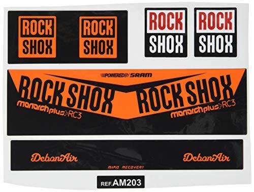 Ecoshirt V4-XQFZ-07KZ Aufkleber Shock Rock Shox Monarch Plus Rc3 Am203 Aufkleber Stoßdämpfer MTB Downhill, Orange