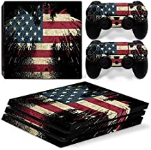 DAPANZ American Flag Vinyl Skin Sticker Decal Cover for Sony Playstation 4 Pro Console and DualShock 4 Controller Skin