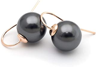 Black Large Swarovski Elements Simulated Pearl 12mm Rose Gold Plated Sterling Silver 925 Earrings 0.75 Inches