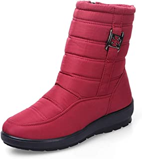 Womens Snow Boots Waterproof Fur Lined Winter Boots Outdoor Slip on Boots