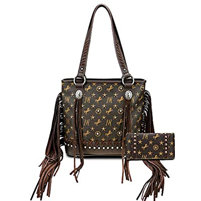 Montana West Fringed Handbag For Women Studed Tote Bag Vintage Western Style Leather Shoulder Bag With Matching Wallet