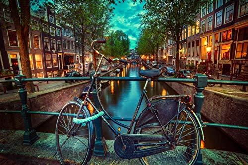 Puzzle 1000 Piezas Diy Para Adultos Juego Madera Amsterdam Ciudad Regalo Único Juego Personalizado Adultos Niños Juguetes Educativos 75X50CM