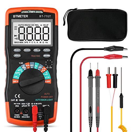 Multímetro Digital Profesional 6000 Cuentas BT-770T Rango Automático Multímetro Digital Multi Tester DC/AC Voltaje,Actual,Resistencia,Capacidad,Frecuencia,Temperatura con NCV+Apagado Auto+Luz de Fondo