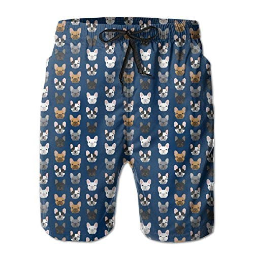YongColer Mens French Bulldog Navy Blue Printed Funny Swim Trunks Quick Dry Beachwear Sports Running Swim Board Shorts,M