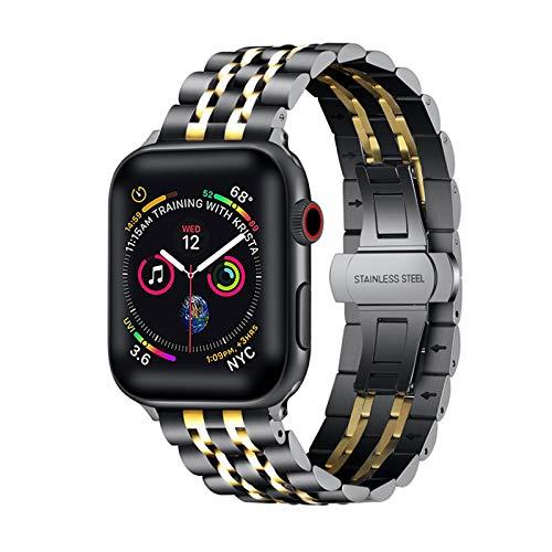 Premie Cinturino di ricambio in acciaio inox e metallo, compatibile con iWatch 42 mm, 44 mm, per Apple Watch Series 6 Series 5 Series 4 Series 3/2 /1, SE e Acciaio inossidabile, colore: nero e oro.