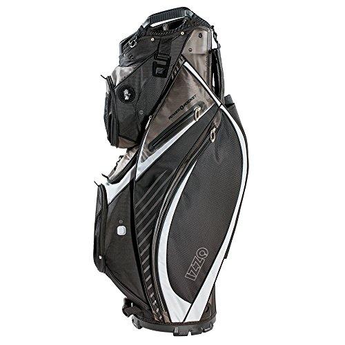 Izzo Golf Gemini Cart Golf Bag - Black, Red, Green or Blue - Golf cart Bag, Golf Club cart Bag, Magnetic Ball Pockets and has Large Beverage Cooler, Black/Grey