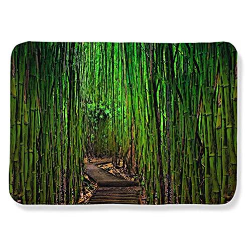 Alfombres Camino del Bosque de bambú Negro Verde Alfombra Antideslizante Suave Lana...