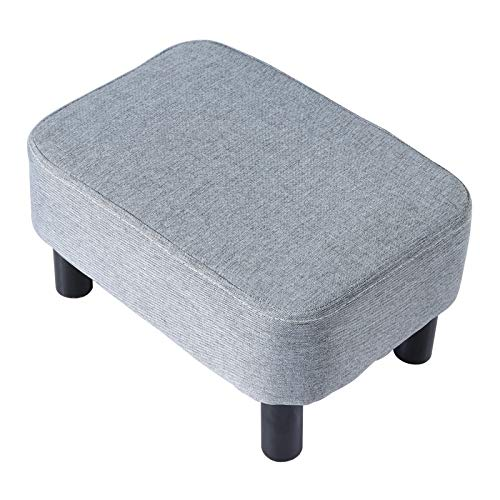 IBUYKE 1654quot Small Footstool Linen Fabric Pouf Ottoman Footrest Modern Home Living Room Bedroom Rectangular Stool with Padded Seat Pine Wood Legs Gray RFBD214C