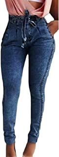 Womens Skinny Jeans Sexy Belted Pocket High Waist Stretchy Denim Pants