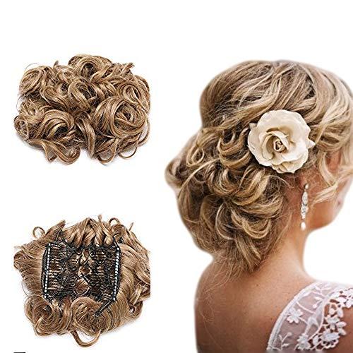 Chignons Postiche Magique Chouchou Updos Effet Decoiffe Queue de Cheval Ponytail Scrunchie Hair Buns Updo Volumieux Extension Cheveux Court a Clip-Marron