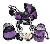 Baby Sportive - Carrozzina con ruote piroettanti + seggiolino per auto + passeggino, sistema 3 in 1 completo di borsa per il cambio, parapioggia e zanzariera