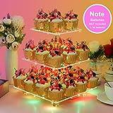 YestBuy 3 Etagen Acryl Cupcake Ständer Tortenständer mit LED-Lichterkette ideal für Hochzeiten Geburtstag (Mehrfarbig) - 2