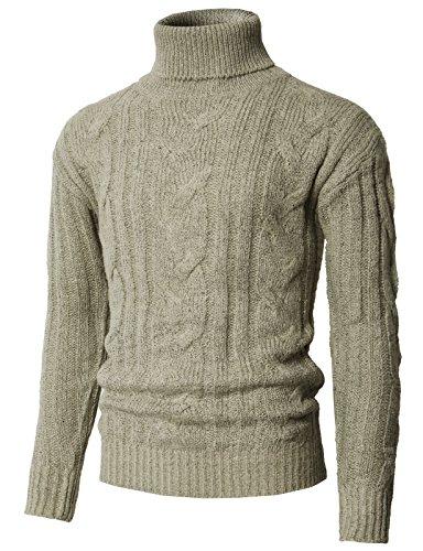 H2H Men's Basic Turtleneck Pullover Solid Sweater Beige US M/Asia L (KMOSWL0222)