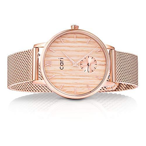 Cari Mesh Milanaise Holzuhr für Damen mit Saphirglas (34mm) - Armbanduhr Verona-141 (Rosegold)