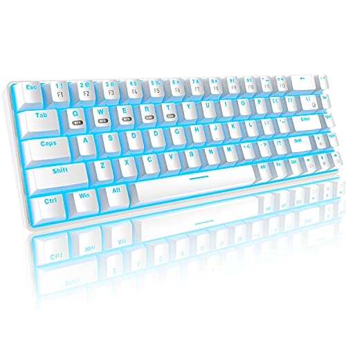 Teclado mecánico 60% para juegos, Bluetooth/2.4GHz inalámbrico USB/cable tipo C 3 modos de conexión, 68 teclas interruptor azul mini teclado,16 efectos retroiluminados azules, recargable de 3000 mAh