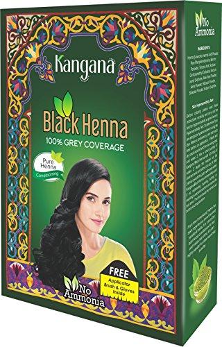 Kangana Black Henna Powder for 100% Grey Coverage - Natural Black Henna...