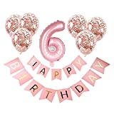 JSJJATF Globos 8pcs / Set Feliz cumpleaños Foil Globos Baby Girl Party Decorations Kids Latex Rose Gold Supplies (Color : 6)