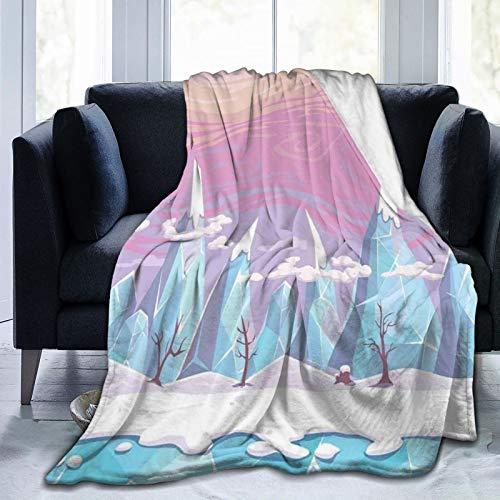 Manta mullida, estilo de dibujos animados, paisajes de fantasía con montañas de hielo, árboles sin hojas y cielo colorido, ultra suave, manta para bebé, cama, cama, TV, manta de 80 x 60 pulgadas