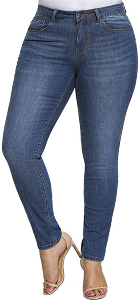 wetry Vaqueros Mujer Tallas Grandes Jeggins Mujer Push Up Cintura Alta Jeans Elasticos Pantalones de Mezclilla Leggings Bootcut Azul Skinny