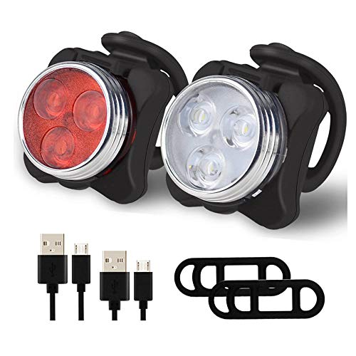 WHCQ Fahrrad-Licht-Set, super helle USB aufladbare Fahrradbeleuchtung, wasserdicht Bergstraße Fahrradbeleuchtung Wiederaufladbare, Sicherheit, einfache Befestigung LED Fahrradbeleuchtung
