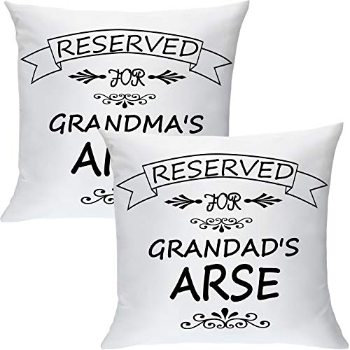 Patelai 2 Pieces Reserved For Grandad Arse Cushion Cover Reserved For Grandma Arse Reserved Pillow Cover Grandparents Pillow Cases Funny Novelty for Grandfather Grandmother (15.7 x 15.7 Inches)