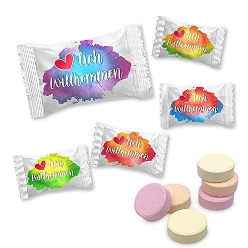 """800g Traubenzucker Drops """"Willkommen Farbklecks"""" mit Vitamin C geeignet für Gartronomie, Hotel und Einzelhandel / ca. 400 Stück"""