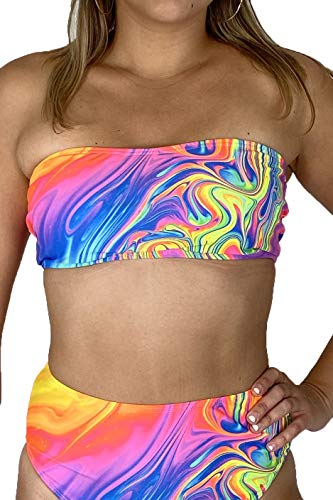 Electric Styles Underboob Rave Tops for Women. UV Blacklight Reactive Underboob, Bandeau, Triangle Bikini, Halter Top, Lingerie for Women (Drip Bandeau Top, X-Small)
