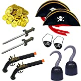SGBETTER 34 Pieces Pirate Accessories Pirate Treasure Play Set Pirate Costume Set with Pirate Hat Sword Pistol Eye Patch Coins for for Halloween Decoration Pirate Theme Costume Party Supplies