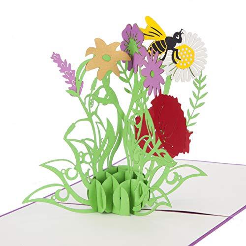 Wild Flowers Pop Up Card - Moederdag Kaarten, Moederdag Bloemen, Verjaardagskaarten voor moeder, Geschenken voor Tuiniers, Handgemaakt door Cardology