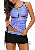 luvamia Women's Two Pieces Print Zip Front Racerback Tankini Set Swimsuits with Skirt Size Large (US 12-14) Light Blue