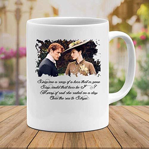 N\A Outlander Jamie y Claire Fraser Serie TV Sam Heughan Taza Taza Tazas de café Tazas Taza de té con asa Taza con asa