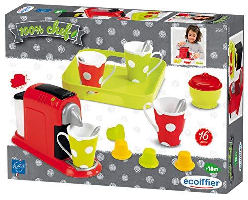 Ecoiffier- Set de Cafetera de Juguete con Cápsulas y Juego de Café, 16 Total Accesorios (Simba Toys Espana S.L. 2614)
