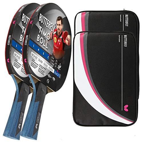 Butterfly Timo Boll Black 2 x Tischtennisschläger + 2 x Tischtennishülle Drive Case 2   Tischtennisschlägerset   Tischtennis Profi Set