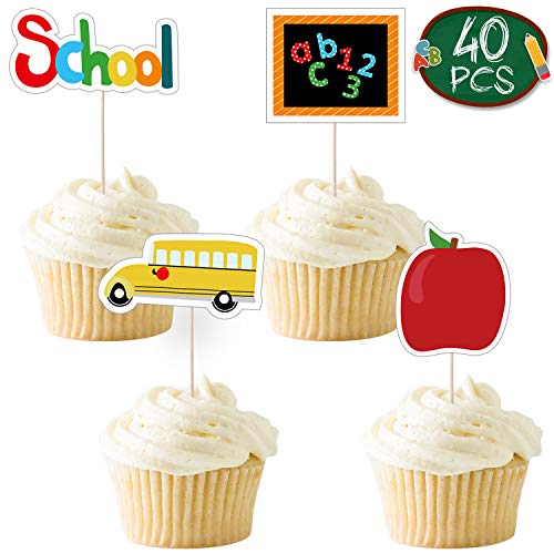 Back to School Cake Topper - Pack of 40 | 4 Designs, School Bus, Apple, Chalkboard, School for Cupcake| Back to School cake topper for Party Supplies | Back to School Decorations for School, Classroom
