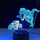 Nur 1 Stück Dinosaurier Jagd Traktor 3D LED Nachtlicht Lampe Farbe 3D Nachtlicht Fernbedienung...