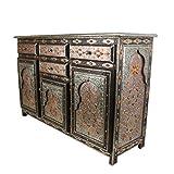 Casa Moro | Aparador de madera maciza con adornos hechos a mano naranja 'Genna grande' estilo marroquí oriental muebles 4 cajones 3 puertas | MO4085